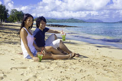 Japanese couple at the beach Stock Photos