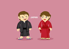 Japanese Couple in Kimomo Vector Illustration Stock Photos