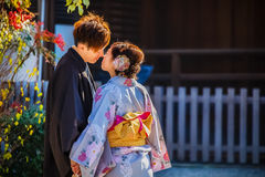 Japanese couple in Kyoto Stock Photos