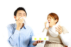 Japanese Couple suffers from allergic rhinitis  Stock Photo