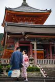 Japanese couple taking pre-wedding photo at Kiyomizu Royalty Free Stock Photography