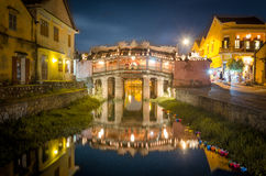 Japanese-covered bridge, Hoi an. The Japanese-covered bridge at night with its reflection in Hoi an royalty free stock photo