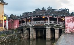 Japanese covered bridge in the Hoi An stock images