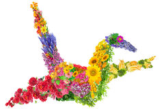 Japanese  crane from flowers Stock Image