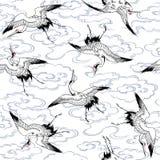 Japanese crane. I drew a crane in Japanese technique Stock Images