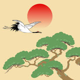 Japanese crane and pine tree with rising sun Royalty Free Stock Photo