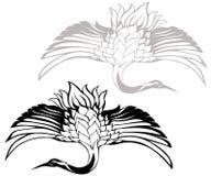 Japanese crane vector. Traditional Asian flying crane illustration Royalty Free Stock Image