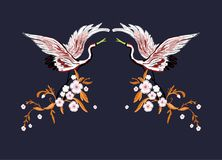 Cranes with flowers. Embroidery for Fashion. Vector illustration. Japanese cranes with flowers. Embroidery for Fashion. Vector illustration Stock Photography