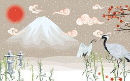 Japanese cranes at sunset in winter vector illustration