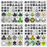 Japanese Crests Set C. Group of arrays of Japanese crests Stock Photo