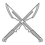 Japanese crossed swords icon, outline style Stock Photo