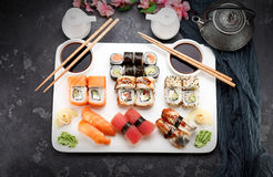 Japanese cuisine. Asian food. Sushi. Royalty Free Stock Images