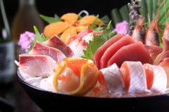 Japanese cuisine. Asian health food,sushi,The plate,sashimi,Rice balls,tuna,salmon,eat, shrimp,seafood,fresh Stock Photo