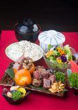 Japanese cuisine. beef cube on the background. Japanese cuisine. beef cube on background stock image