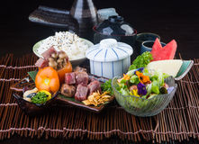 Japanese cuisine. beef cube on the background Stock Images