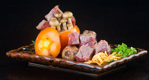 Japanese cuisine. beef cube on the background Royalty Free Stock Image