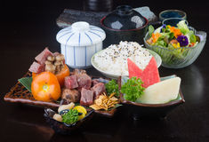 Japanese cuisine. beef cube on the background Royalty Free Stock Photo
