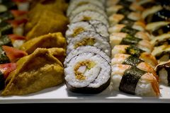 Japanese Cuisine -Buffet catering style Sushi Set in restaurant Stock Images