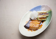 Japanese Cuisine Buri (Yellowtail) teriyaki Royalty Free Stock Photography
