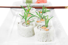 Japanese Cuisine - California Sushi Roll with Avocado Royalty Free Stock Photography
