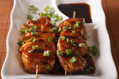Japanese cuisine: chicken yakitori on skewers close-up. horizont Stock Images