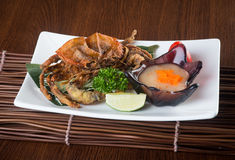 Japanese cuisine. crab on the background.  stock photos