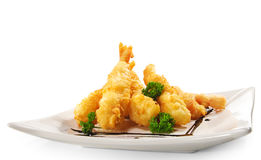 Japanese Cuisine - Deep-fried Shrimps. And Vegetables stock photos