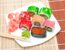 Japanese cuisine. Different sushi rolls. View from above. Royalty Free Stock Photography