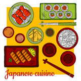 Japanese cuisine dinner colorful sketch icon Royalty Free Stock Images
