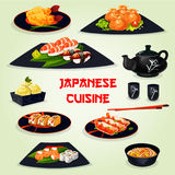 Japanese cuisine dinner with dessert cartoon icon Stock Images