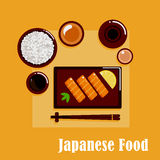 Japanese cuisine dinner with sashimi, sake and rice Stock Photography