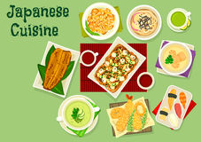 Japanese cuisine dishes icon for asian food design. Japanese cuisine icon of nigiri sushi with tuna and prawn, rice with liver and oranges, grilled eel, noodle Stock Photography
