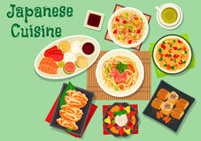 Japanese cuisine dishes icon for menu design. Japanese cuisine dinner dishes icon with sashimi platter, seafood rice, smoked eel egg roll, fry rice, vegetable Stock Photo