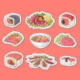 Japanese cuisine dishes isolated labels. Octopus, oysters, tuna, nigiri, sushi roll with shrimps, sashimi with salmon, soup with seafoods sketches. Asian Royalty Free Stock Photo