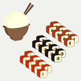Japanese cuisine dishes sushi rolls. Classic set with caviar and red fish rise - vector Stock Photos