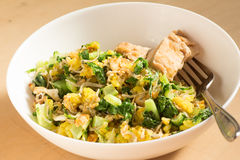 Japanese cuisine, fish and egg fried rice with grilled chicken Stock Images