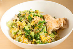 Japanese cuisine, fish and egg fried rice with grilled chicken Stock Photography