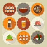 Japanese cuisine. Flat icon set.  Long shadow Royalty Free Stock Image