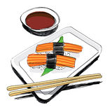 Japanese Cuisine - Food Sketch Hand Drawn Royalty Free Stock Photos