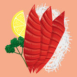 Japanese Cuisine. Fresh Tuna Sashimi. Japanese Cuisine. Fresh Tuna Sashimi and lemon isolated vector illustration