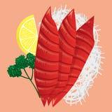 Japanese Cuisine. Fresh Tuna Sashimi. Japanese Cuisine. Fresh Tuna Sashimi and lemon isolated Stock Photo