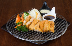 Japanese cuisine. fried chicken on background Stock Images