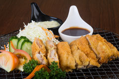 Japanese cuisine. fried chicken on background Royalty Free Stock Photo