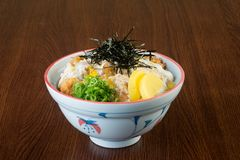 Japanese cuisine. fried chicken rice on the background Royalty Free Stock Photography