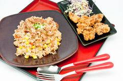 Japanese Cuisine -fried rice Teriyaki pork Royalty Free Stock Image