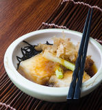 Japanese cuisine. fried tofu on the background Royalty Free Stock Photo