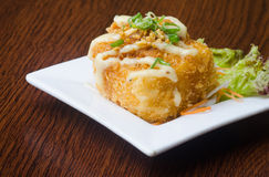Japanese cuisine. fried tofu on the background Stock Photo