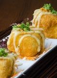 Japanese cuisine. fried tofu on the background Stock Image
