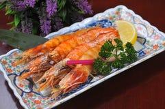 Japanese cuisine - grilled shrimp Royalty Free Stock Photo