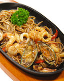 Japanese Cuisine - Hot Noodles With Seafood Stock Photo